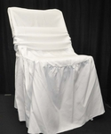 Renaissance Series Ruffled Shrink Resistant Polyester Chair Cover with 6''W x 105''L Sash - White [132001-MES]