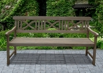 Renaissance 5' Outdoor Curved Small X Back Garden Bench with Arms and Contour Slat Seat [V1299-FS-VIF]
