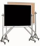 Reversible Free Standing Black Chalkboard and Natural Pebble Grain Cork Combination Board with Aluminum Frame - 48''H x 72''W [ACB4872B-AA]