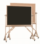 Reversible Free Standing Black Chalkboard and Natural Pebble Grain Cork Combination Board with Red Oak Frame - 36''H x 48''W [RBC3648B-AA]