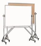 Reversible Free Standing Combination Markerboard and Natural Pebble Grain Corkboard with Aluminum Frame - 36''H x 48''W [WACB3648-AA]