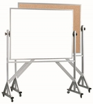 Reversible Free Standing Combination Markerboard and Natural Pebble Grain Corkboard with Aluminum Frame - 42''H x 60''W [WACB4260-AA]