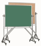 Reversible Free Standing Green Chalkboard and Natural Pebble Grain Cork Combination Board with Aluminum Frame - 42''H x 60''W [ACB4260G-AA]