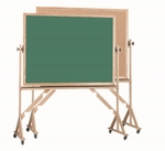 Reversible Free Standing Green Chalkboard and Natural Pebble Grain Cork Combination Board with Red Oak Frame - 42''H x 60''W [RBC4260G-AA]