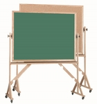 Reversible Free Standing Green Chalkboard and Natural Pebble Grain Cork Combination Board with Red Oak Frame - 48''H x 72''W [RBC4872G-AA]