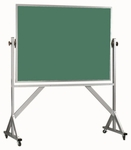 Reversible Free Standing Green Porcelain Chalkboard with Aluminum Frame - 42''H x 60''W [ARS4260G-AA]