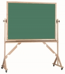 Reversible Free Standing Green Porcelain Chalkboard with Red Oak Frame - 42''H x 60''W [RS4260G-AA]