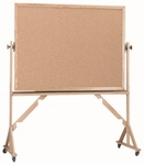 Reversible Free Standing Natural Pebble Grain Cork Bulletin Board with Red Oak Frame - 36''H x 48''W [RBB3648-AA]