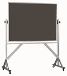 Reversible Free Standing Slate Porcelain Chalkboard with Aluminum Frame - 42''H x 60''W [ARS4260S-AA]