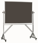 Reversible Free Standing Slate Porcelain Chalkboard with Aluminum Frame - 48''H x 72''W [ARS4872S-AA]