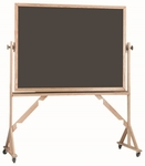 Reversible Free Standing Slate Porcelain Chalkboard with Red Oak Frame - 48''H x 72''W [RS4872S-AA]