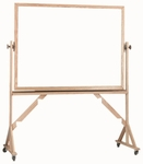 Reversible Free Standing White Porcelain Marker Board with Red Oak Frame - 48''H x 72''W [WRS4872-AA]
