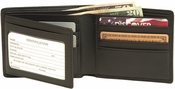 RFID Blocking Men's Bifold Wallet with Double Id Flap - Top Grain Nappa Leather - Black