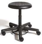 Rhino Foot Activated Desk Height Stool with Urethane Seat - Black [RROF1-FS-CRA]