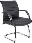 Ribbed CaressoftPlus Guest Chair with Armrests - Black [B9449-FS-BOSS]