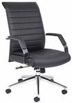 Ribbed High Back CaressoftPlus Executive Chair with Armrests- Black [B9441-FS-BOSS]