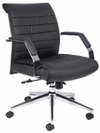 Ribbed Mid Back CaressoftPlus Executive Chair with Armrests - Black [B9446-FS-BOSS]