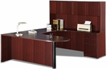 Right Curvilinear U-Group Executive Suite with D-Top and Hutch [ML345RIGHT-FS-MAR]