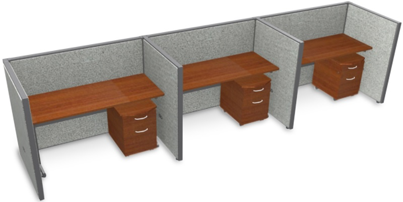 Rize 1 x 3 privacy workstation 60 39 39 w x 47 39 39 h gray for Affordable furniture pittsburgh