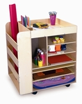 Rolling Birch Art Cart with Heavy Duty Casters and Storage Shelves on 2 Sides [WB0285R-FS-WBR]