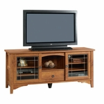 Rose Valley 63''W x 27.75''H Wooden Entertainment Credenza with 2 Tempered Glass Doors - Abbey Oak [404867-FS-SRTA]