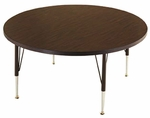 Customizable Round Non-Folding Adjustable Height Activity Table with Chrome Inserts - 36''Dia. x 23-30''H [SA-36-C-BKS]
