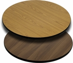 Round Restaurant Table Top with Reversible Natural or Walnut <font color = blue><b>Laminate</b></font> Top [BFDH-NATWALRD-TDR]