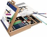 Royal Langnickel Essentials Sketch and Draw Easel Artist Set with Wooden Carrying Case/Easel and Assorted Art Supplies - 124 Piece
