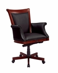 Rue De Lyon Executive High Back Chair with Upholstered Arms in Black Leather - Ruby Cabernet [7684-835-FS-DMI]