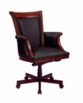 Rue De Lyon Executive High Back Chair with Wood and Upholstered Arms in Black Leather - Ruby Cabernet [7684-836-FS-DMI]