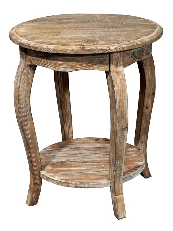 Rustic Reclaimed Wood 20 Diameter Round End Table With Display Shelf Driftwood Arsa1525 By Bolton Furniture Bizchair Com