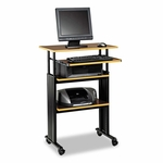 Safco® Adjustable Height Stand-Up Workstation - 29w x 22d x 49h - Cherry/Black [SAF1929CY-FS-NAT]