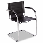 Safco® Flaunt Series Guest Chair - Black Leather/Chrome [SAF3457BL-FS-NAT]
