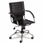Safco® Flaunt Series Mid-Back Manager's Chair - Black Leather/Chrome [SAF3456BL-FS-NAT]