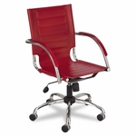 Safco® Flaunt Series Mid-Back Manager's Chair - Red Leather/Chrome [SAF3456RD-FS-NAT]