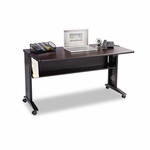 Safco® Mobile Computer Desk W/Reversible Top - 53.5 x 28 x 30 - Mahogany/Medium Oak/Black [SAF1933-FS-NAT]