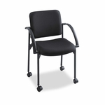 Safco® Moto Series Stacking Chairs - Black Fabric Upholstery - 2/Carton [SAF4184BL-FS-NAT]