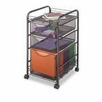 Safco® Onyx Mesh Mobile File With Two Supply Drawers - 15-1/4w x 17d x 27h - Black [SAF5213BL-FS-NAT]