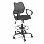 Safco® Vue Series Mesh Extended Height Chair - Acrylic Fabric Seat - Black [SAF3395BL-FS-NAT]