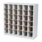 Safco® Wood Mail Sorter with Adjustable Dividers - Stackable - 36 Compartments - Gray [SAF7766GR-FS-NAT]