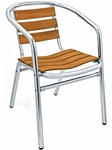 Sand Key Collection Outdoor Stackable Arm Chair with Real Teak Back and Seat - Aluminum [AL-302TK-FLS]