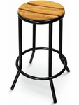 Sand Key Collection Outdoor Backless Barstool with Teak Seat - Black [BAL-607TK-FLS]