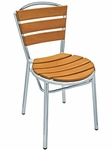 Sand Key Collection Outdoor Stackable Side Chair with Teak Back and Seat - Aluminum [AL-308TK-FLS]