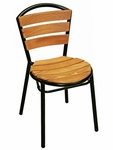Sand Key Collection Outdoor Stackable Side Chair with Teak Back and Seat - Black [AL-308TK-BLACK-FLS]