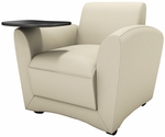 Santa Cruz Mobile Leather Lounge Chair with Black Tablet - Almond [VCCMTALM-FS-MAY]