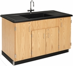 Science Lab Wooden Clean Up Sink with 1'' Thick Black Epoxy Resin Sloped Top - 55.5''W x 28''D x 36.5''H [3303K-DW]