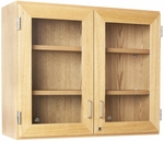 Science Lab Wooden Wall Cabinet with 2 Adjustable Shelves and Locking Glass Doors - 36''W x 12''D x 30''H [D06-3612-DW]