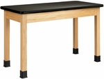 Science Lab Wooden Table with 1.25'' Thick Black Plastic Laminate Top - 48''W x 24''D x 30''H [P7101K30N-DW]