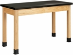 Science Lab Wooden Table with 1'' Thick Black Epoxy Resin Top - 48''W x 24''D x 30''H [P7106K30N-DW]