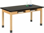 Science Lab Wooden Table with 1.25'' Thick Black Plastic Laminate Top and 2 Book Compartments - 48''W x 24''D x 30''H [C7101K30N-DW]